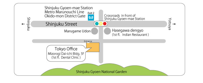 The map of Tokyo Office of Bridx Corporation.
